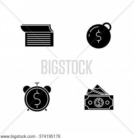 Money Debt Black Glyph Icons Set On White Space. Write In Checkbook. Heavy Financial Burden. Countdo