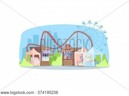 Empty Street Fair Semi Flat Vector Illustration. Amusement Park With Rollercoaster And Shopping Stal