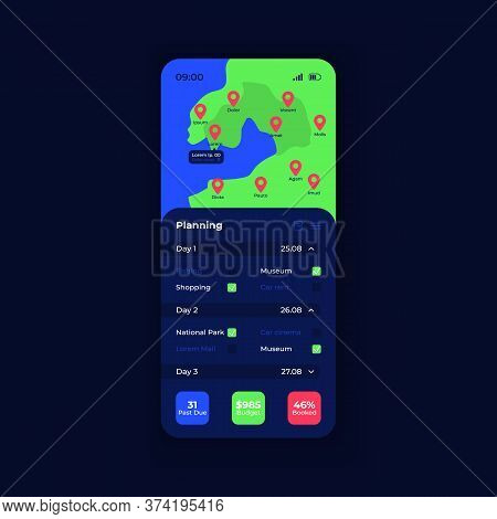 Travel Management App Smartphone Interface Vector Template. Mobile App Page Night Mode Design Layout