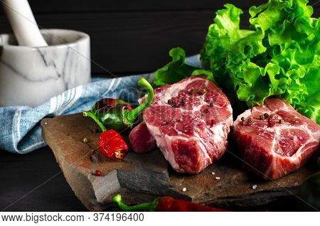 Raw Meat Beef Marble Steak With And Vegetables