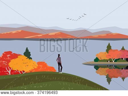 Autumn Nature Landscape. Colorful Minimal Cartoon. Fall Season Banner Background. Enjoy Of Calm Rive
