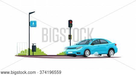 Car Crossing Pedestrian Crosswalk Semi Flat Rgb Color Vector Illustration. Empty Street, Roadside. V