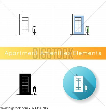 Building Icon. Tall Construction With Apartments. Urban Condominium For Community Living. Home Near