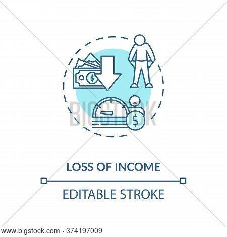 Loss Of Income Turquoise Concept Icon. Reduction In Budget. Financial Decline. Economic Crisis. Unem