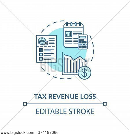Tax Revenue Loss Turquoise Concept Icon. Business Profit Reduction. Crisis In Industry. Financial De