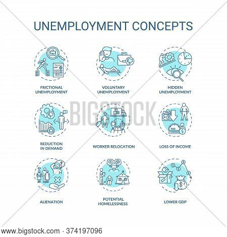 Unemployment Type Turquoise Concept Icons Set. Lower Gross Domestic Production. Economic Issue Idea