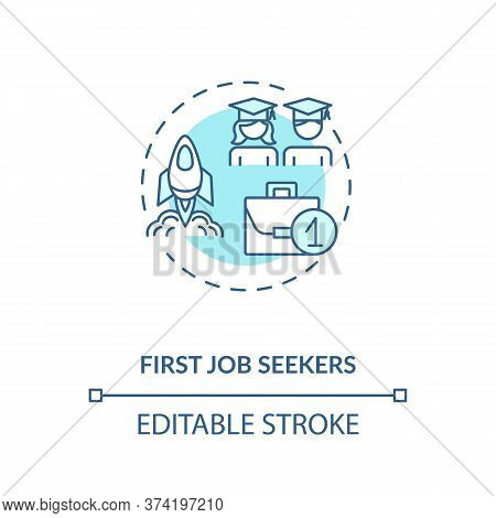 First Job Seekers Turquoise Concept Icon. Unemployment Problem For Young Specialist. Graduate Search
