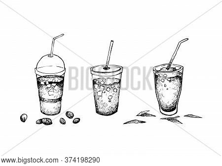 Drink And Beverage, Illustration Hand Drawn Sketch Of Iced Coffee And Iced Tea Isolated On A White B