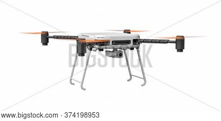 3d Rendering Of Quadcopter Isolated On White Background
