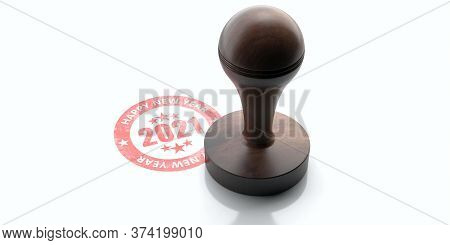 2021 Happy New Year. Round Rubber Stamper And Stamp Isolated On White Background. 3D Illustration