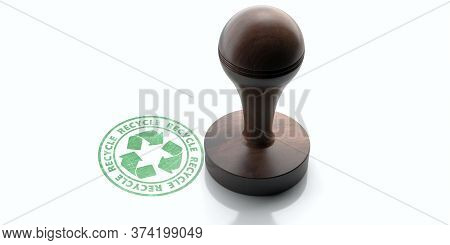 Wooden Round Rubber Stamper And Stamp With Text Recycle Isolated On White Background. 3D Illustratio