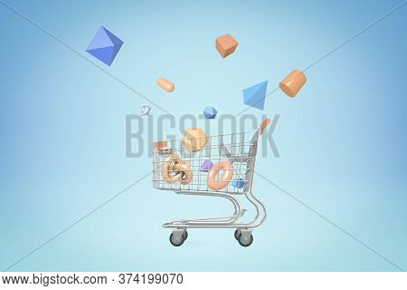 3d Rendering Of Shopping Cart With Random Geometric Objects On Blue Background