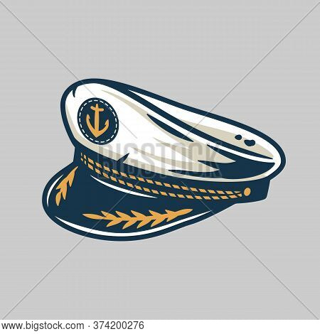 Marine Captain Cap, Sailor Nautical Logo Element