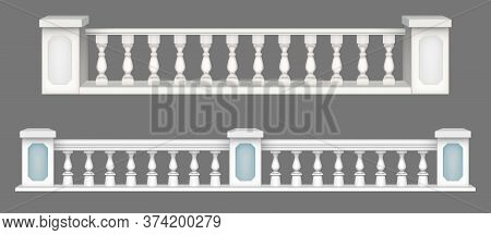 Marble Balustrade, White Balcony Railing Or Handrails. Banister Or Fencing Sections With Decorative