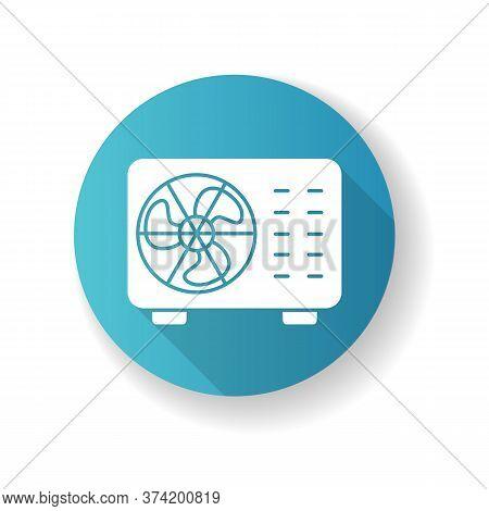 Split Air Conditioner Blue Flat Design Long Shadow Glyph Icon. Interior Environment Refrigeration Sy