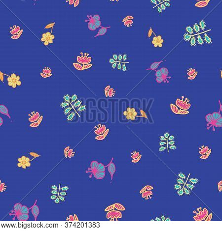 Folklore Flowers Seamless Pattern. Great For Textile And Scrapbook