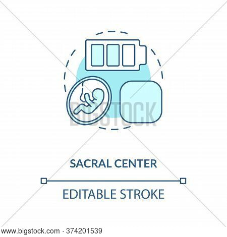 Sacral Center Turquoise Concept Icon. Life Force. Sexuality Level. Chakra In Body System. Human Desi