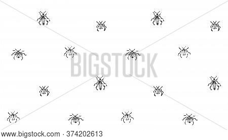 Hand Drawn Seamless Pattern With Beetles Collection. Sketch Style Vector Endless Background. Black I