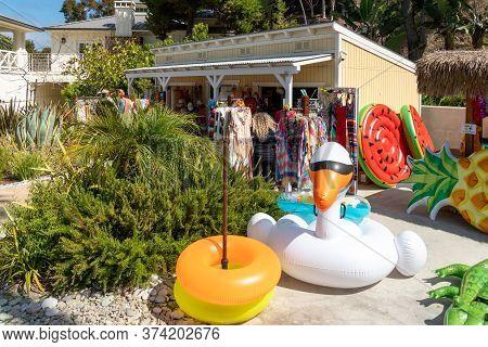 Small Little Tourist Shop At Descanso Beach Club, Santa Catalina Island. Usa, Famous Tourist Attract