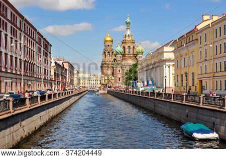 Church Of The Savior On Spilled Blood On Griboedov Canal, St. Petersburg, Russia