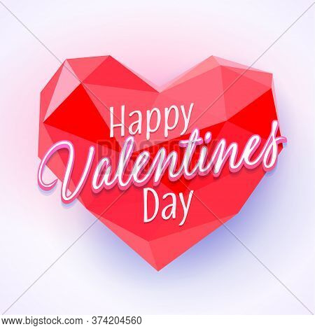 Valentines Day Vector Greeting Card. Low Poly Heart. Happy Valentines Day Card Vector Illustration