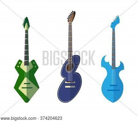 Guitar Collection. Different Shape Acoustic And Electric Guitars. Isolated Stylish Art. Colored Icon