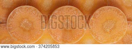 Closeup Bright Round Carrot Slices, Vegetable Pieces Long Banner. Orange Monochrome Horizontal Shot