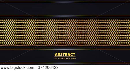 Dark Abstract Background With Golden Hexagon Carbon Fiber. Abstract Background With Golden Luminous