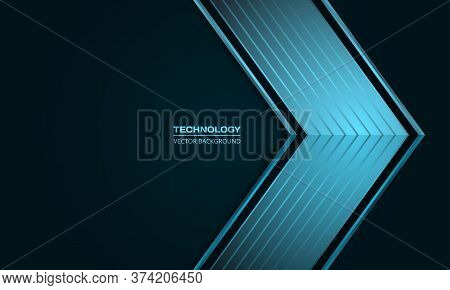 Blue Metallic Arrow On A Dark Blue And Turquoise Abstract Background. Luxury Overlap Direction Desig