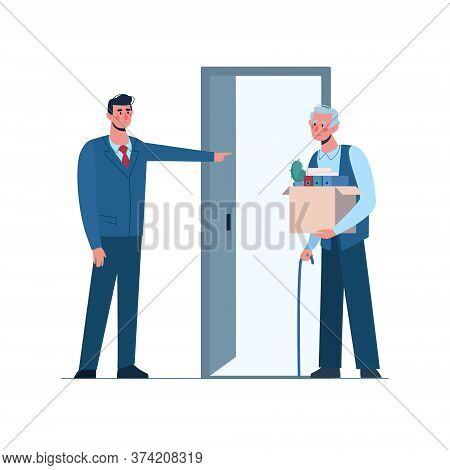Retirement. Boss Leaves A Elderly Person Without Work. Fired Old Man Leaves The Office With A Box In