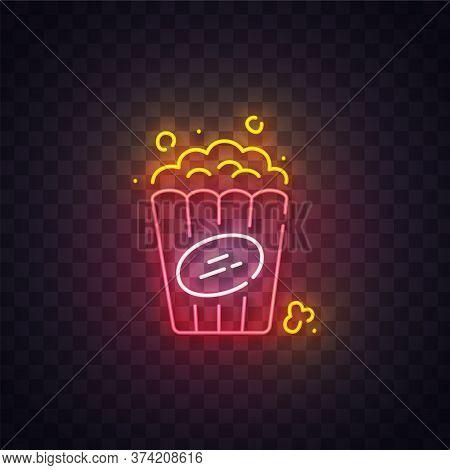 Popcorn Neon Sign, Bright Signboard, Light Banner. Popcorn Logo Neon, Emblem. Vector Illustration