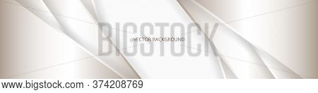 Wide White Luxury Abstract Background With Golden Lines And Shadows. Futuristic Light Wide Banner Wi
