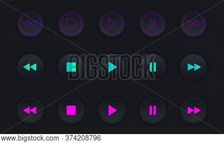Media Player Icons Set. Dark Colorful Buttons For Controlling A Audio Or Video Player. Black Volumet