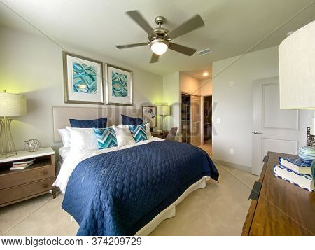 Orlando, Fl/usa - 6/3/20:  A Highly Decorated Bedroom In A Model Of An Apartment Complex.
