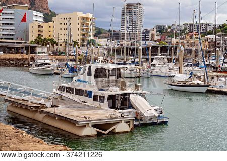 Townsville, Queensland, Australia - June 2020: Luxury Yachts Moored At A Marina In The City