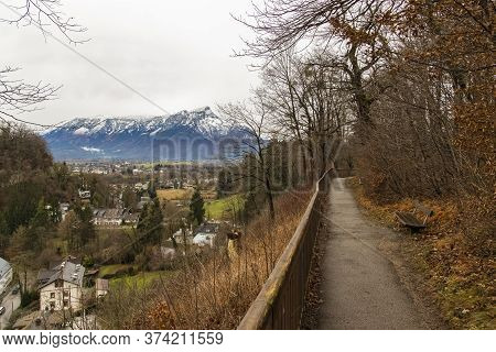 Moody Autumn Time Nature Landscape Park Outdoor Scenic View With Trail For Walking And Promenade And