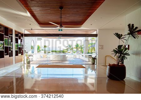 Townsville, Queensland, Australia - June 2020: Bright Foyer Of Luxury Casino Hotel By The Sea Filled