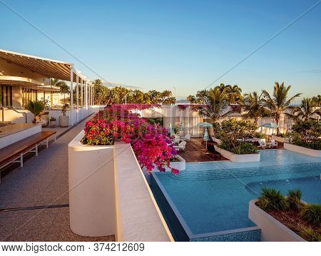 Townsville, Queensland, Australia - June 2020: A Tropical Resort Hotel With Luxury Accommodation And