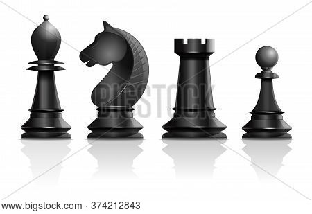 Black Chess Pieces Bishop, Knight, Rook, Pawn. Set Of Chess Pieces. Chess Concept Design. Realistic