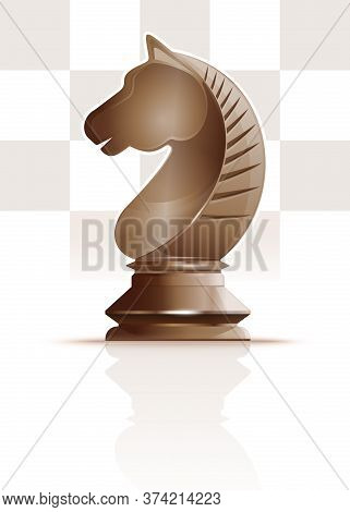Ivory White Chess Knight On A Background Of Chessboard Cells. Chess Knight Figure. Horse Symbol. Che
