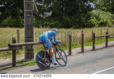 Bourgoin-jallieu, France - 07, May, 2017: The French Cyclist Thierry Hupond Of Delko-marseille Prove