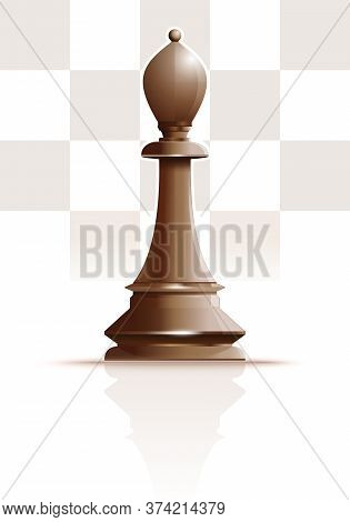 White Chess Figure Officer On A Background Of Chessboard Cells. White Ivory Bishop. Chess Piece Elep