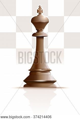 White Ivory King. Chess King. Chess Piece. Chess King Against The Background Of A Chessboard. Vector