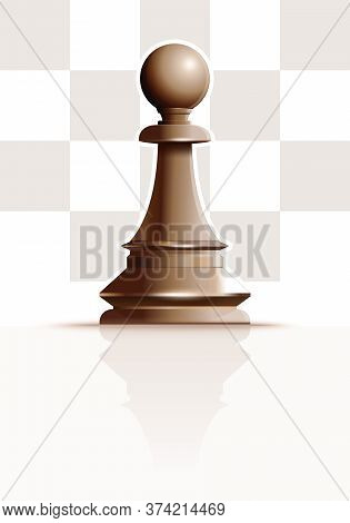 White Chess Figure Pawn On A Background Of Chessboard Cells. White Ivory Pawn. Chess Piece Pawn. Rea