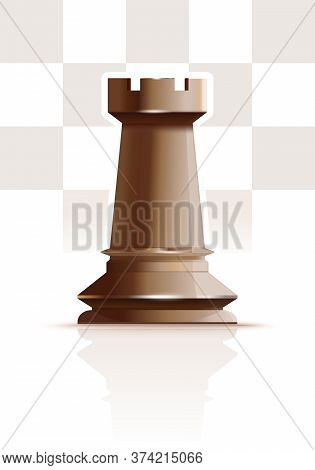 White Chess Figure Rook On A Background Of Chessboard Cells. Ivory White Rook. White Tower. Realisti