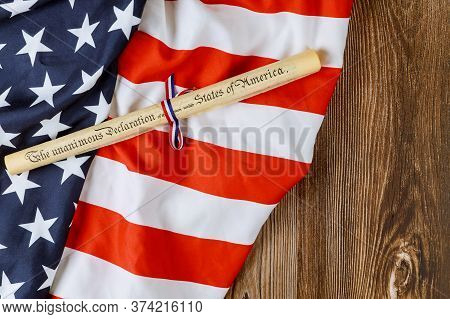 Declaration Of Independence Fourth Of July Parchment Roll Document With Flag Of America..
