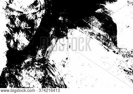 Distress Urban Used Texture. Grunge Rough Dirty Background. Brushed Black Paint Cover. Overlay Aged