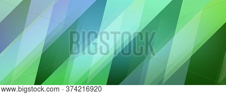 Abstract Background Of Colored Polygons In Green Colors