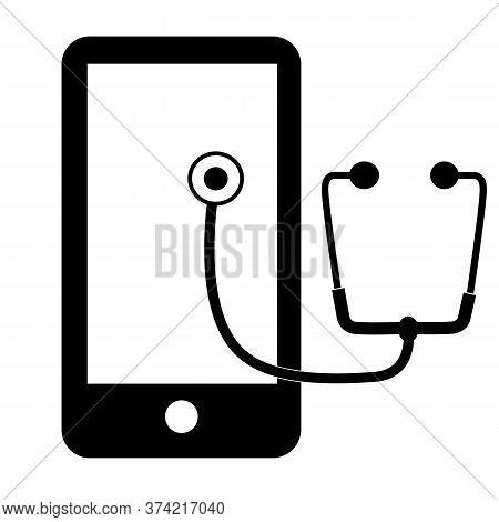 Mobile Telemedicines Icon On White Background. Telemedicine Sign. Stethoscope And Smartphone Symbol.