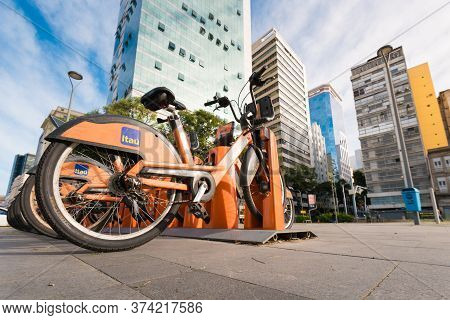 Rio De Janeiro, Brazil - June 30, 2020: Bicycle Station Of \'tembici\' [\'havebike\'] Project Sponso